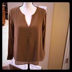 Tan vee neck blouse